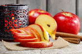Apple swan. Decoration made of fresh fruit. — Stock Photo