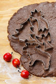 Preparing gingerbread cookies for christmas. Steps of making — Stock Photo