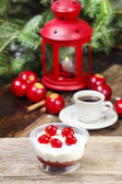 Delightful tiramisu dessert decorated with cherries. Christmas — Stock Photo