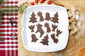 Preparing gingerbread cookies for christmas. Steps of making bis — Stock Photo