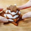 Preparing gingerbread christmas tree. Steps of making delicious — Stock Photo #40990323