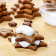 Preparing gingerbread christmas tree. Steps of making delicious — Stock Photo #40990443