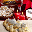 Festive bread on jute table cloth. Beautiful christmas table set — Stock Photo #40993475