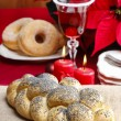 Festive bread on jute table cloth. Beautiful christmas table set — Stock Photo #40993537
