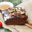 Christmas gingerbread cake with chocolate and hazelnuts — Stock Photo