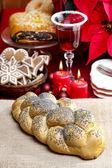 Festive bread on jute table cloth. Beautiful christmas table set — Stock Photo