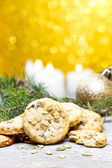Pumpkin cookies in christmas setting — Stock Photo