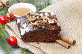 Christmas gingerbread cake with chocolate and hazelnuts — 图库照片