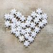 Heart made of paper stars — Stock Photo