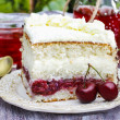 Cherry and coconut layer cake on wooden table in the garden — Stock Photo