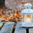 Beautiful lantern on wooden table in autumn forest — Stock Photo #47583967