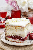 Cherry and coconut layer cake — Stock Photo