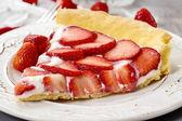 Piece of strawberry tart — Stock Photo