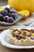 Pumpkin, plum and apricot galette on wooden table — Stock Photo