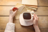 Cup of coffee and letters from the past — Stock Photo