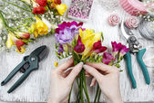 Florist at work. Woman making bouquet of freesia flowers — Stock Photo