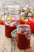 Fruit jam in preserving jar — Stock Photo