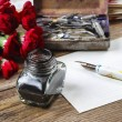 Writing a letter. White sheet of paper, ink and red carnation fl — Stock Photo #47942059