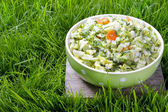 Fresh salad in green dotted bowl — Stock Photo
