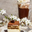 ������, ������: Tiramisu cake on white plate Blossom apple branch and cup of ir