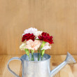 Beautiful carnation flowers in silver watering can, on wooden ba — Stock Photo #47977645