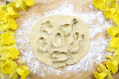 Preparing easter gingerbread cookies. Steps of making biscuits.  — Stock Photo