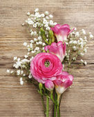 Pink persian buttercup flower, freesia flower and baby's breath — Stock Photo