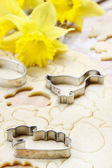 Preparing easter gingerbread cookies. Steps of making pastry. — Stock Photo