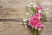 Pink persian buttercup flower, freesia flower and baby's breath  — Stockfoto