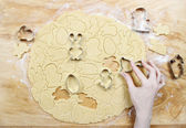 Preparing easter gingerbread cookies. Steps of making pastry. — Zdjęcie stockowe