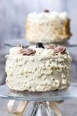 Vanilla wedding cake on cake stand — Stock Photo