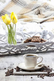 Time to relax: cup of coffee on wooden table — Стоковое фото