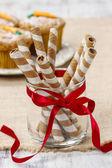 Striped wafer rolls, delicious chocolate snack — Stok fotoğraf