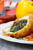 Chicken roll stuffed with spinach and dried tomatoes — Стоковое фото