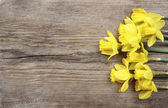 Beautiful yellow daffodils on brown wooden board. Top view, copy — Stockfoto