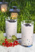 Blueberry and redcurrant smoothie on wooden tray. Garden party,  — Stock Photo