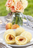 Apricot in pastry, popular austrian dish. Garden party table — Stock Photo