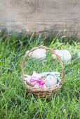 Koš z kraslic, stojící na čerstvé trávě — Stock fotografie