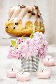 Bouquet of beautiful flowering almond (prunus triloba) — Stock Photo