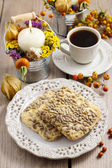 Flapjack cookies in autumn setting — Stock Photo