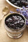 Bowl of blackberry jam — Stock Photo
