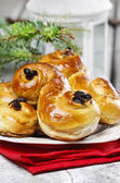 Traditional swedish buns in christmas setting. — Stock Photo