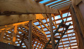 Wooden roof frame seen from inside — Stock Photo