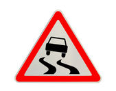 "Traffic sign ""slippery road"" isolated — Stock Photo"