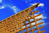 Wooden triangle roof frame — Stock Photo