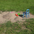 Child sandbox with a toys — Stock Photo