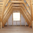 Stock Photo: Attic in wooden house under construction - detail