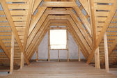 Attic in wooden house under construction - detail — Stock Photo