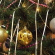 Christmas decorations: three spheres set on the fir — Stock Photo