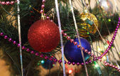 Christmas decorations: focus on the blue sphere — Stock Photo